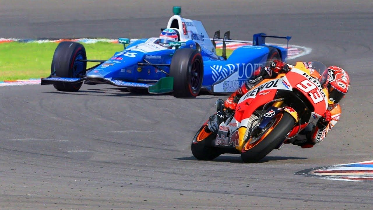 Marc Marquez Motogp Bike Vs Formula F1 Indy Race Car Motogp