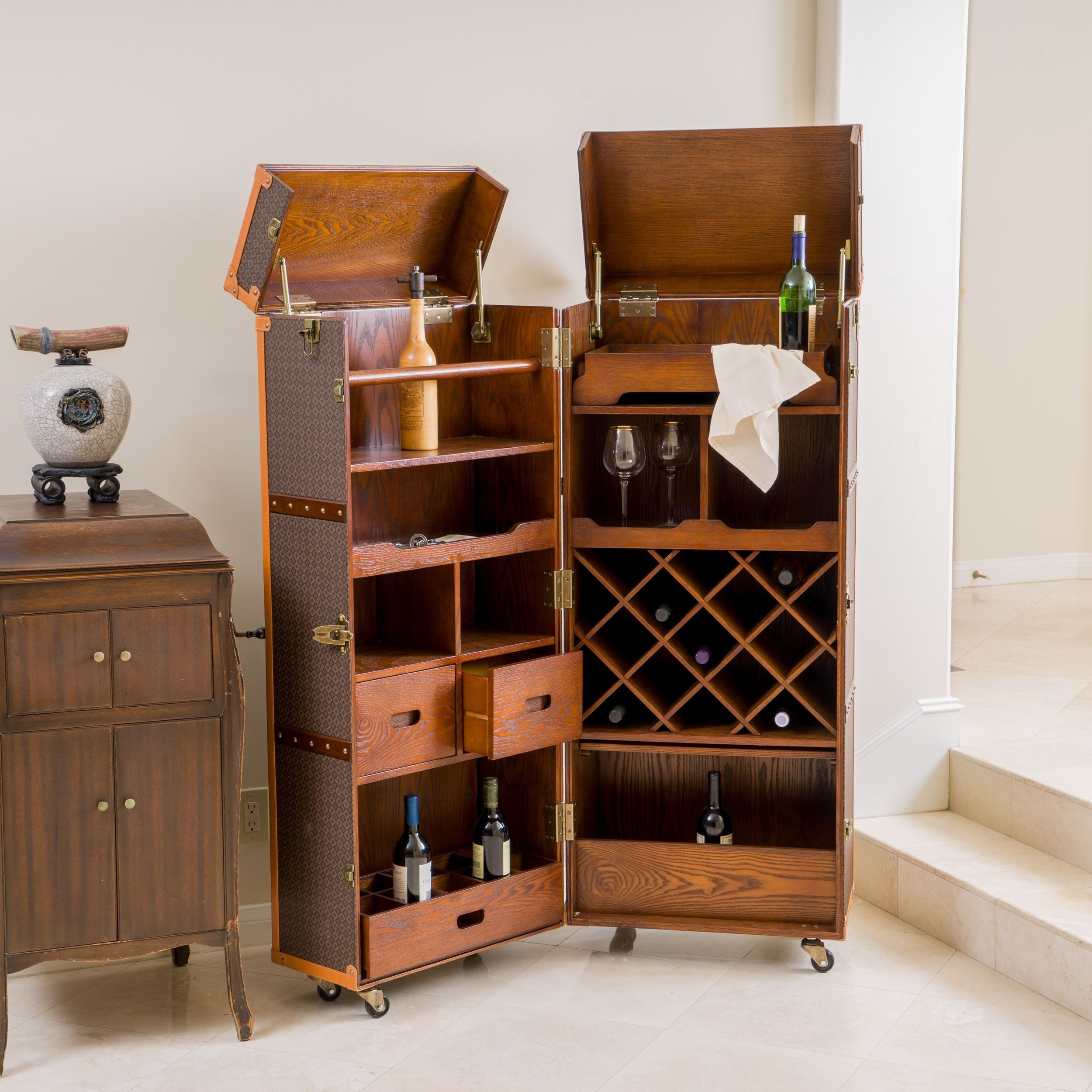 The Richfield rolling bar cabinet offers a sleek and ...