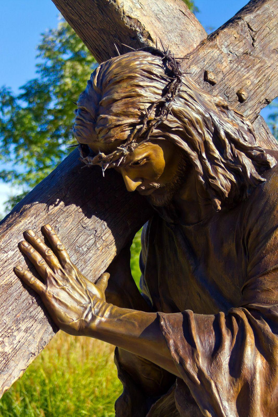 Jesus Carrying Cross Art Sculptures & Statues God