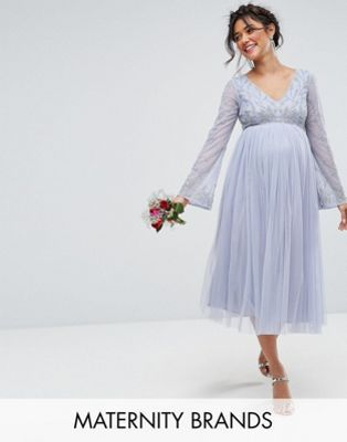 201730be27727 Maya Maternity Long Sleeve Midi Dress With Embellished Sleeves And Tule  Skirt