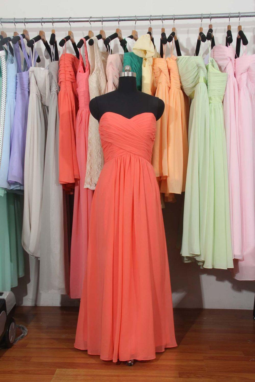 Chiffon bridesmaid dress long coral bridesmaid dress cheap prom chiffon bridesmaid dress long coral bridesmaid dress cheap prom dress by harsuccthing on etsy ombrellifo Gallery