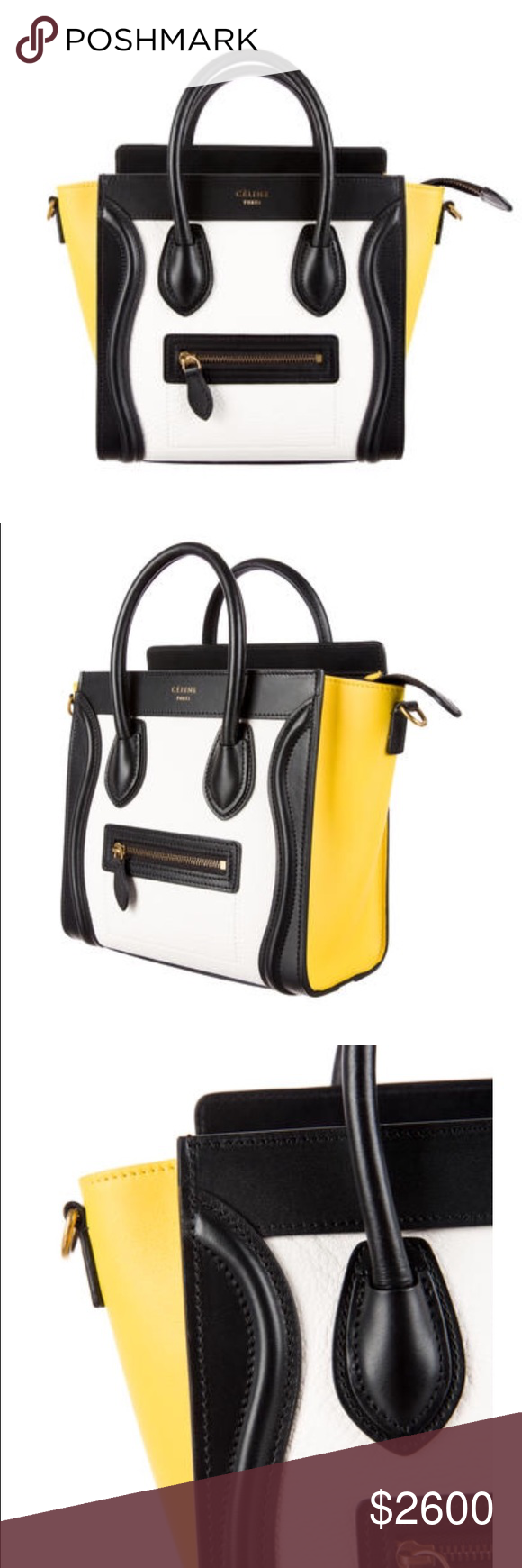 f360a100be Gold Hardware · Shoulder Strap · Dust Bag · Purses · Celine nano luggage  tricolor White