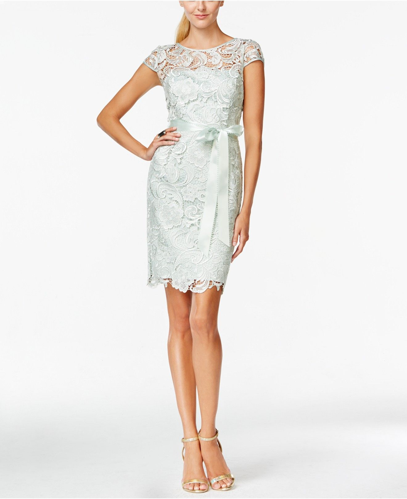 Adrianna papell lace capsleeve illusion sheath dress dusty miller