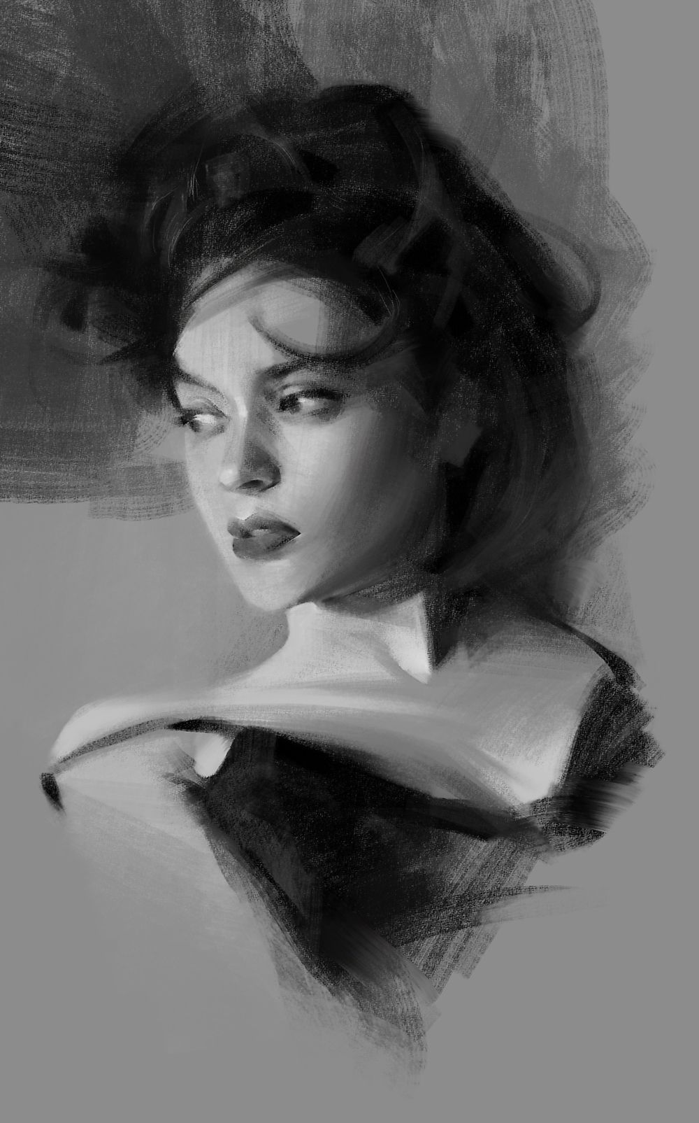 It's just an image of Smart Woman Portrait Drawing