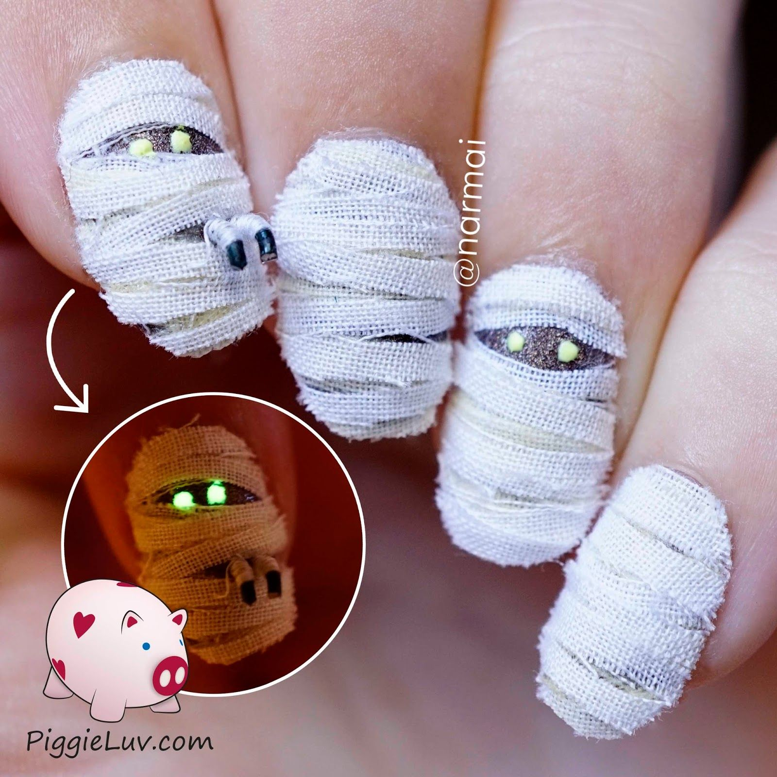 3D mummy nail art for Halloween | Halloween nail art, Nail ...