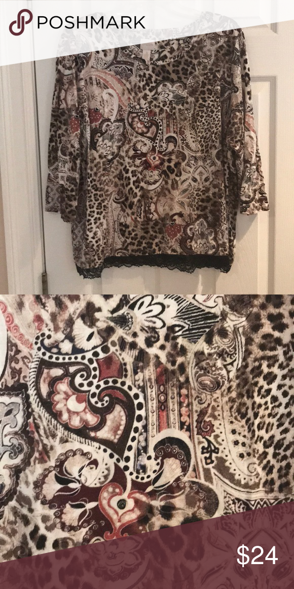 da9bbfb9506 Chico's shirt, size 3 Please note Chico's sizing—size 3 is equivalent to  XL/16-18. 3/4 sleeves. Has stretch. Colors are dark/light browns, tans, ...
