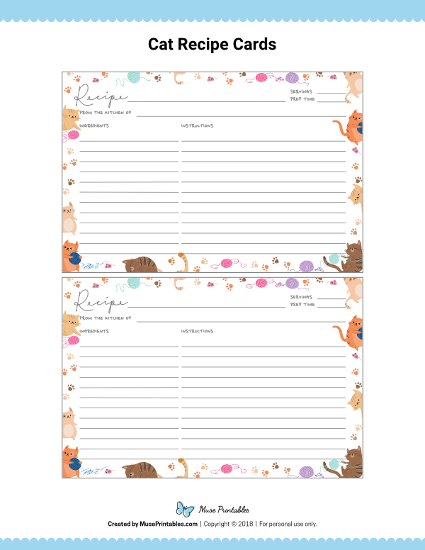 Free Printable Cat Themed Recipe Cards The Cards Are Editable In Adobe Reader Download Them A Printable Recipe Cards Recipe Cards Printable Free Recipe Cards