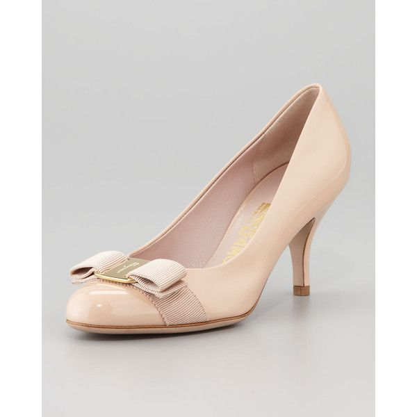 ffc5b8e9518 Salvatore Ferragamo Carla Patent Bow Pump ( 630) ❤ liked on Polyvore  featuring shoes