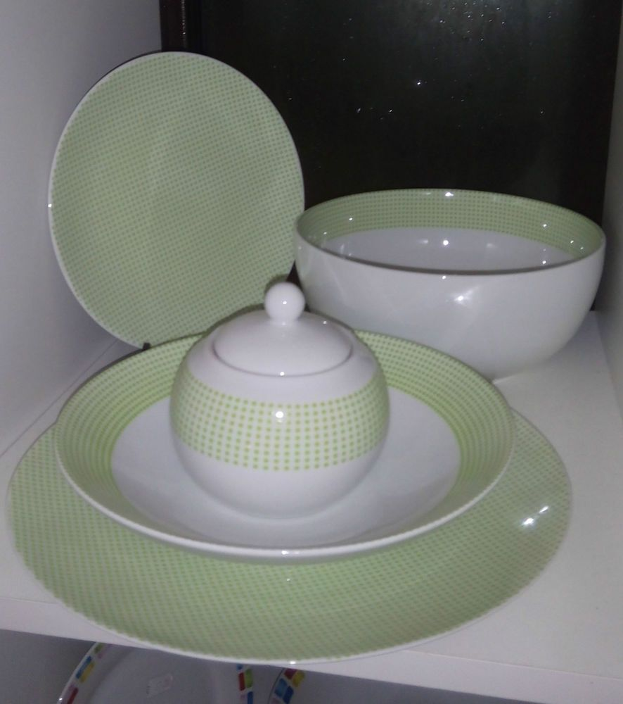 Servizio Piatti + Tazzine + Zuccheriera 38 pezzi Porcellana ...