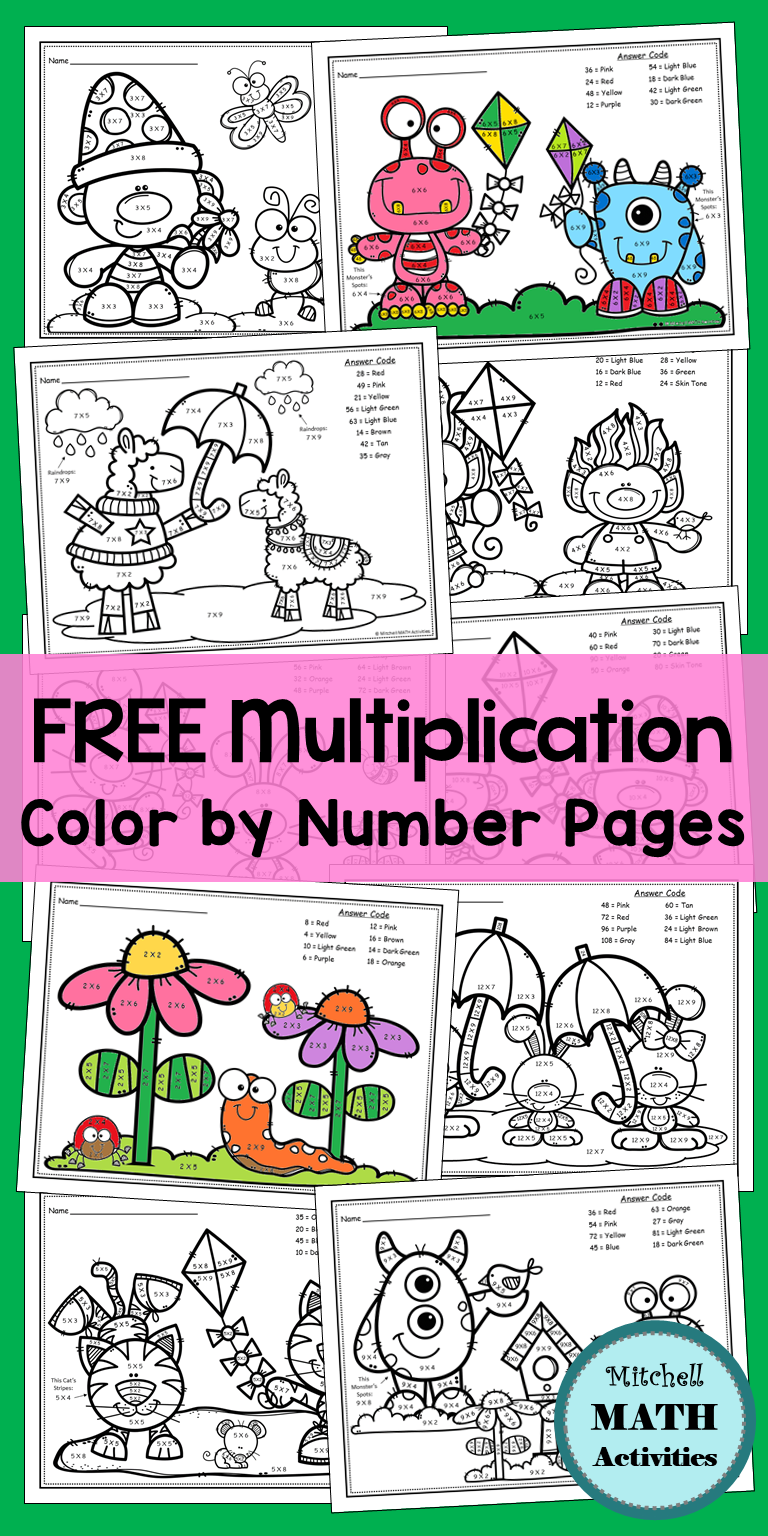 Free Collection Of 11 Multiplication Color By Number Pages With A Fun Spring Theme The Set Includes A F Homeschool Math Teaching Multiplication Multiplication [ 1536 x 768 Pixel ]
