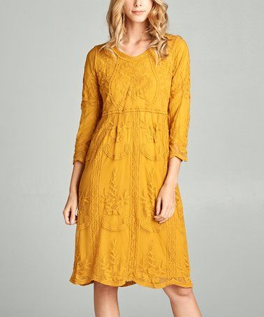 a0f78763b2a9 Another great find on #zulily! Mustard Lace Empire-Waist Dress #zulilyfinds