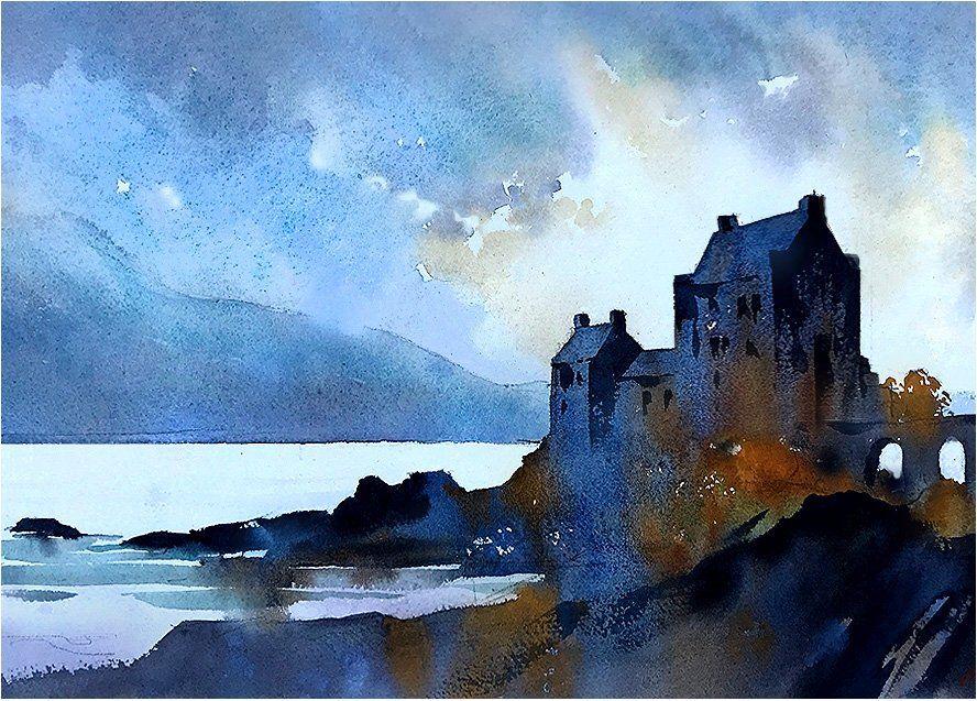Thomas W Schaller Castle Watercolor Architecture Watercolor Landscape Castle Painting