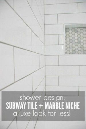 Shower Design: Subway Tile and Marble Tile Niche