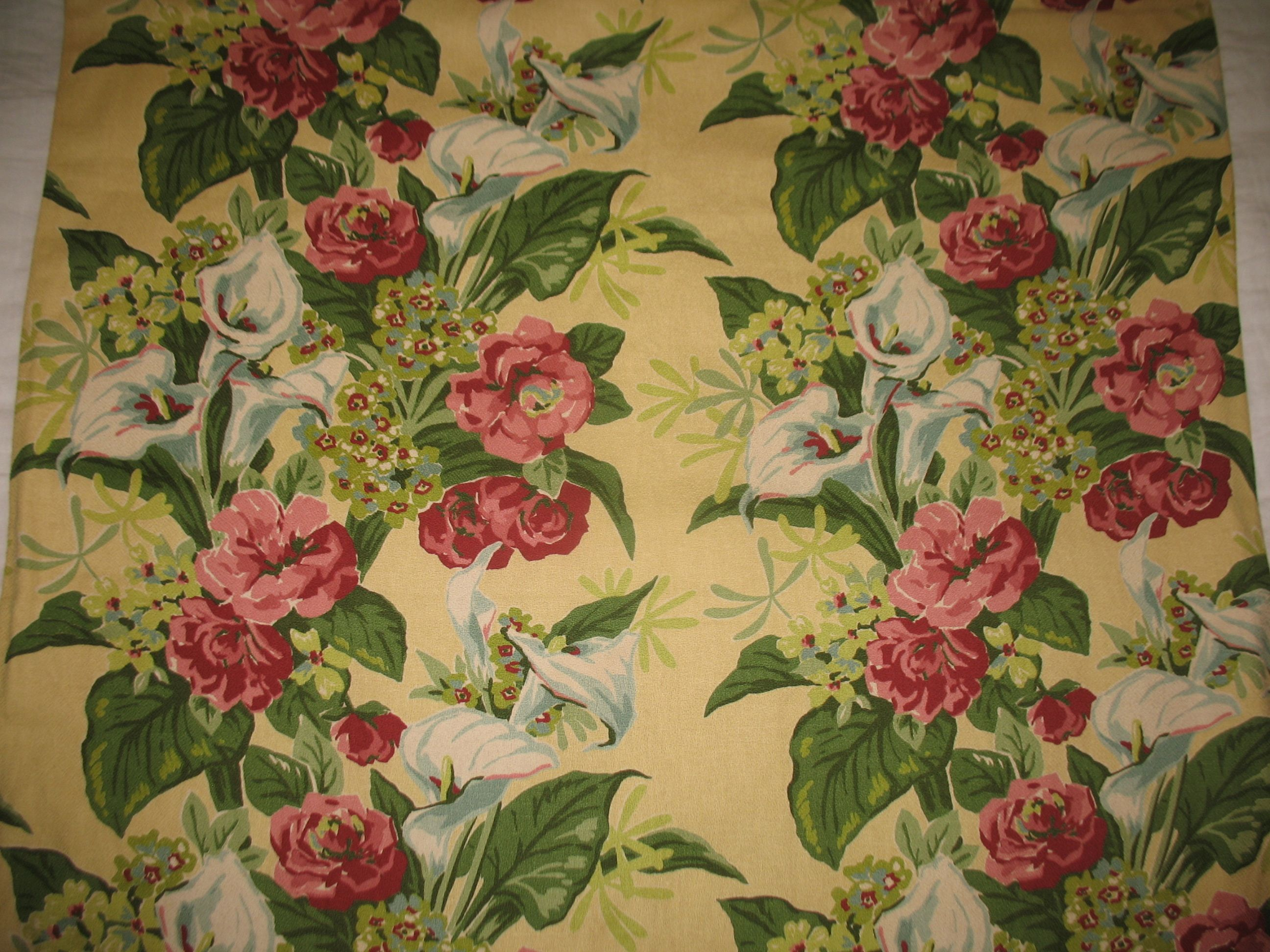 Roses Lily Bouquet Printed On Fabric Panel Make A Cushion Upholstery Craft