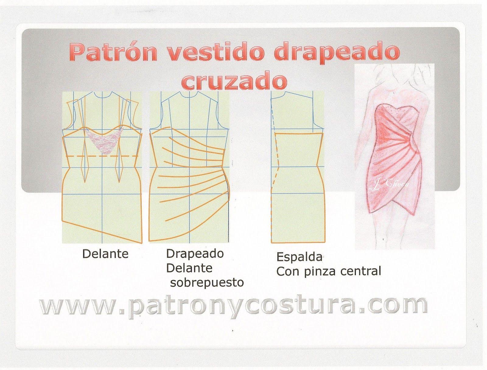 Patrón y costura : Vestido drapeado cruzado delante. Tema 119 ...