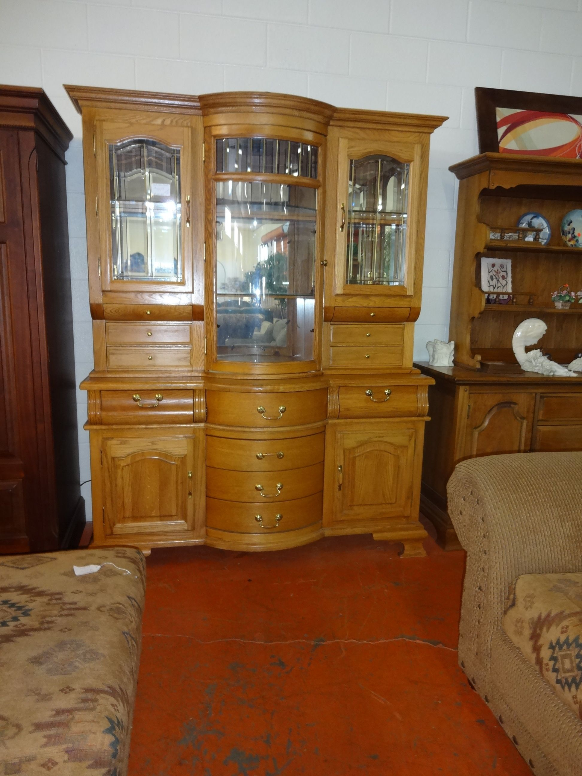 8679 China Cabinet Made By Winners Only Furniture Solid Honey Oak