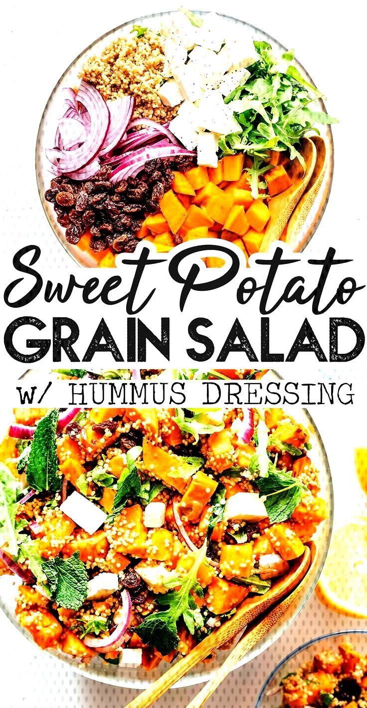 Sweet Potato Salad with Quinoa and Hummus Dressing With roasted sweet potato, quinoa, arugula, feta