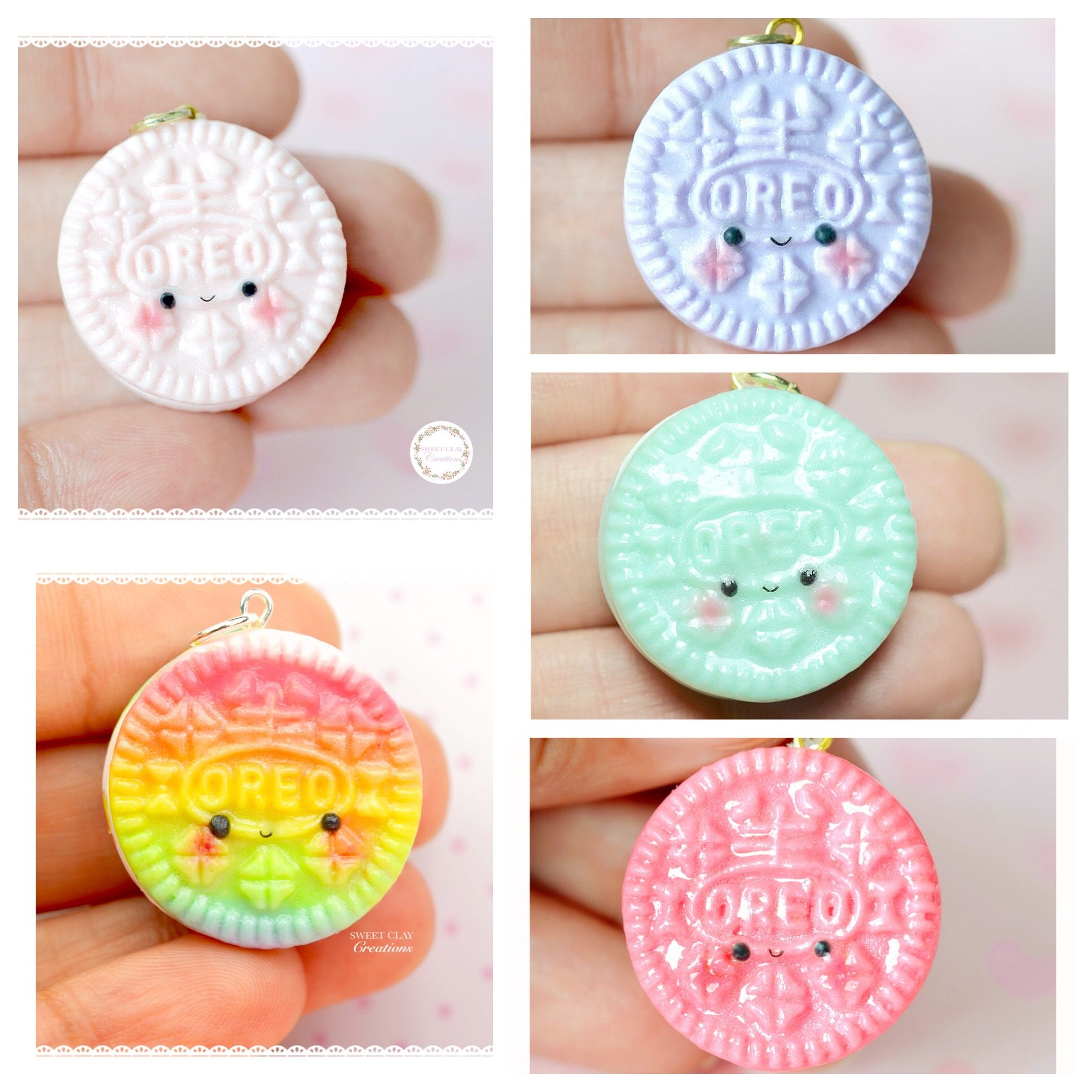 Photo of Soft Pastel Oreo Kawaii Charm | sweet-clay-creations