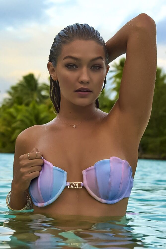 d0291e731e7 WILDFOX Pastel Rainbow Mermaid Bikini Top // Gigi Hadid | Sports  Illustrated Swimsuit 2016