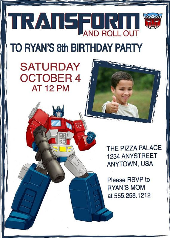 25 best images about Optimus Prime birthday ideas – Transformer Party Invitations