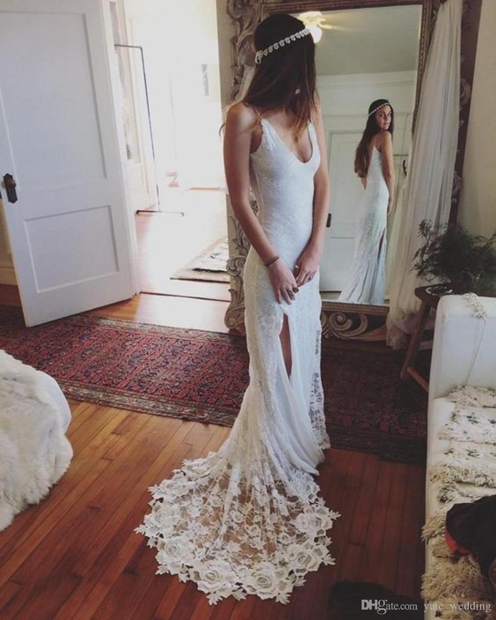 987ddd7407ed3 Lace Bohemian Wedding Dresses 2017 Sexy Deep V Neck Spagheti Straps High  Split Backless Wedding Gowns