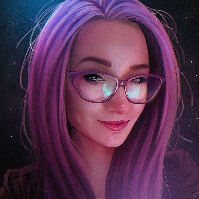 Прикольные картинки девушки в очках мультяшные с фиолетовыми волосами, приколы картинки