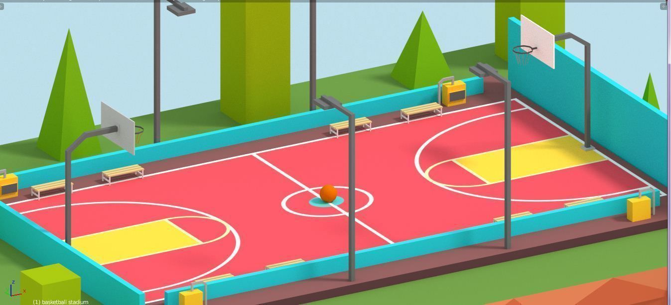 Cartoon Low Poly Basketball Court Low Basketball Court Tag Art Low Poly