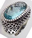 509R-1SP - Ring Lg Oval Glass Zirconite Cz Filigree Ring $87