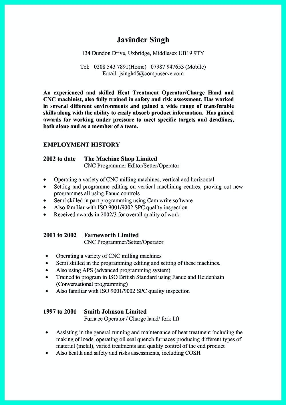 Pin Di Resume Sample Template And Format Cnc Machinist