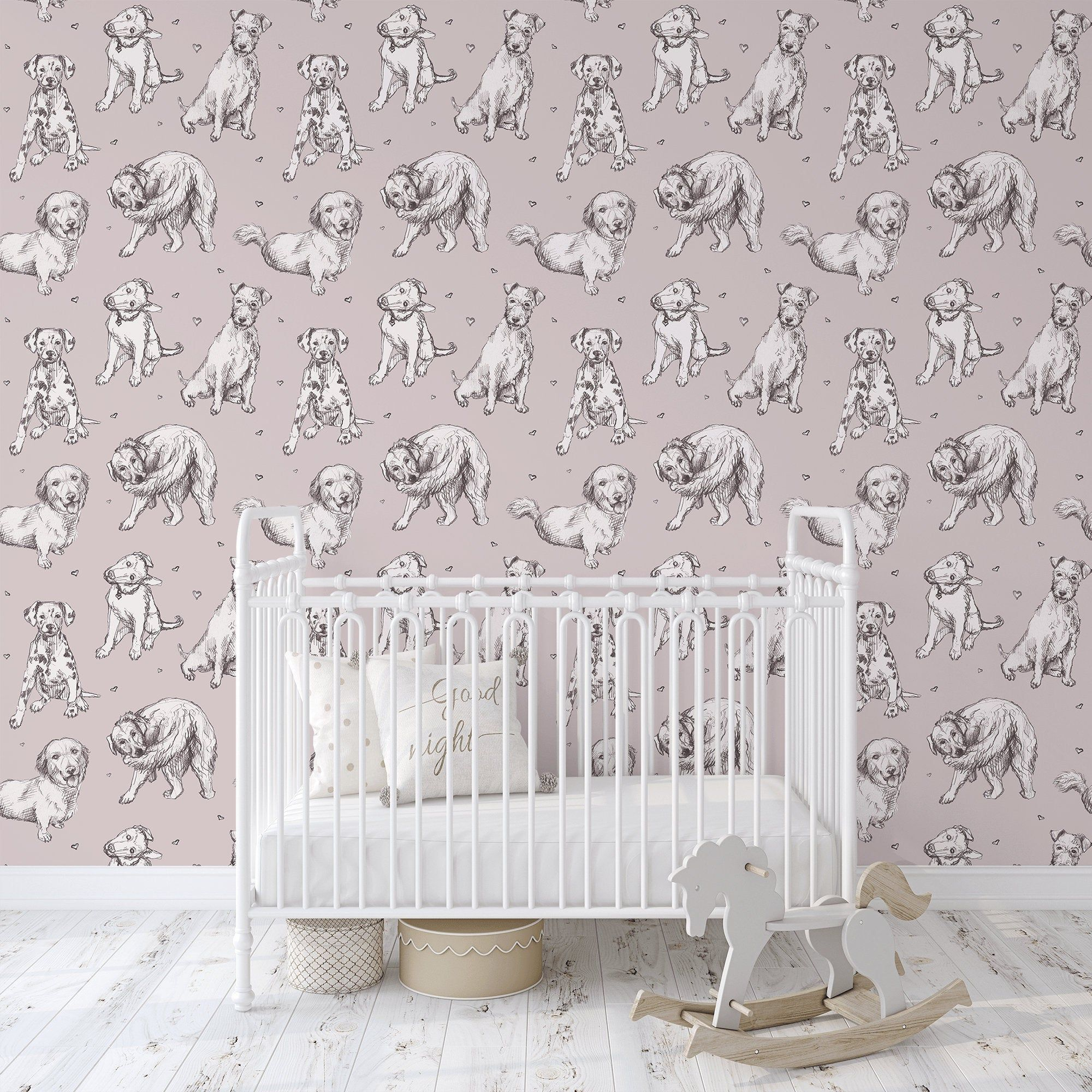 Nursery Wallpaper With Cute Dogs Peel And Stick Kids Etsy Nursery Wallpaper Kids Wallpaper Nursery Wall Stickers