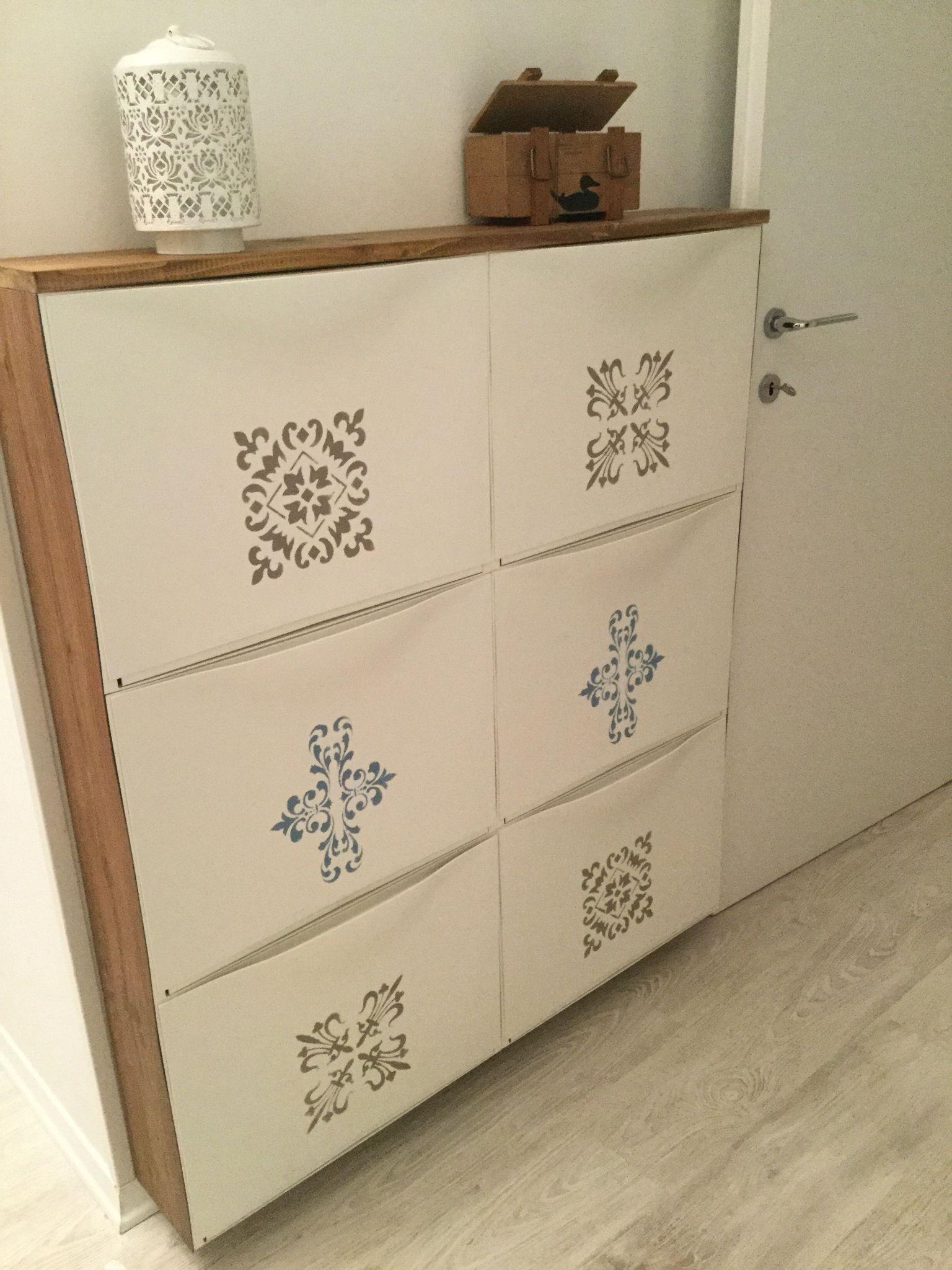 Scarpiera Trones Ikea Vivacizzata Con Stencil Trones Ikea Mobilier De Salon Deco Maison