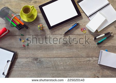 Office desk background with tablet smart phone and cup of coffee