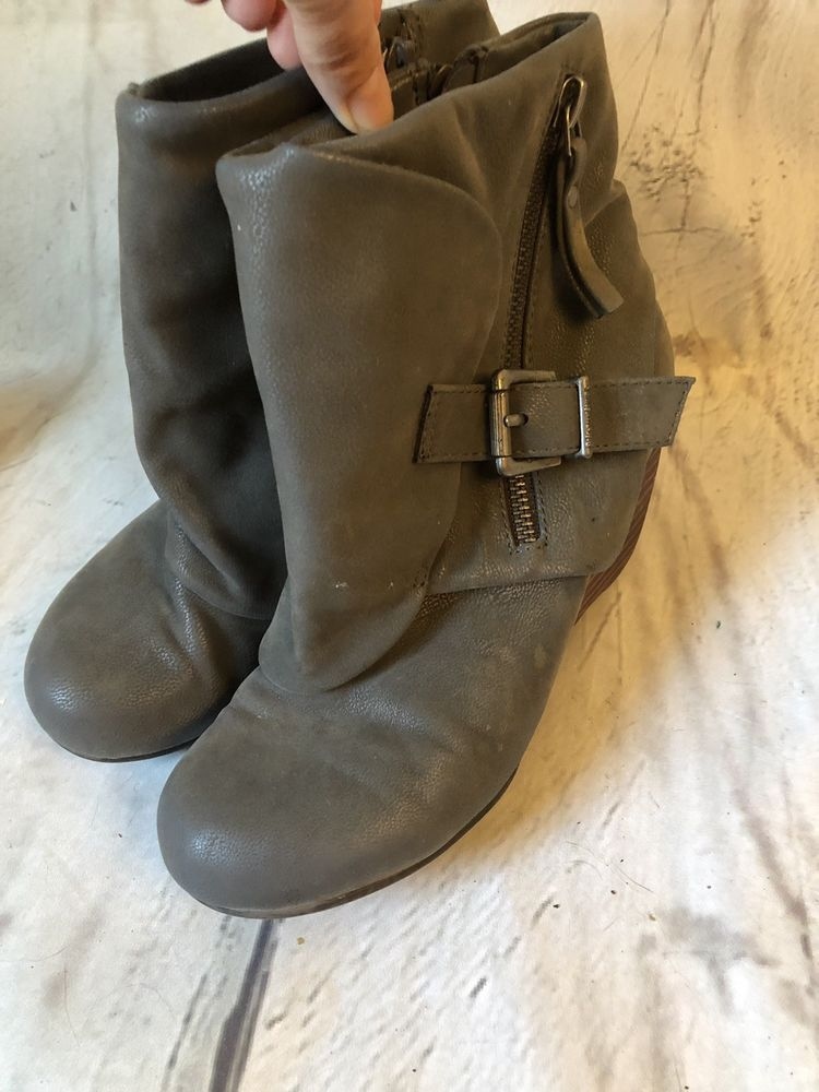 5e731372099 Blowfish Malibu Ankle Boots Womens 6 Gray Zip Buckle Accent Wedge Booties