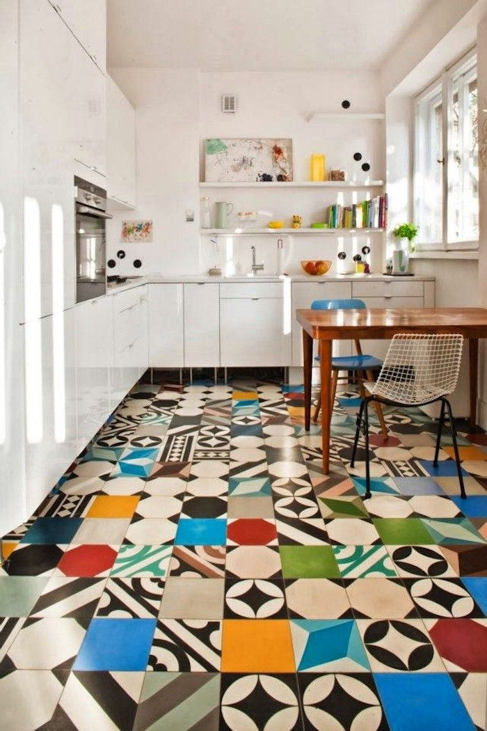 white-kitchen-featuring-a-colorful-floor | kitchen floors, mix