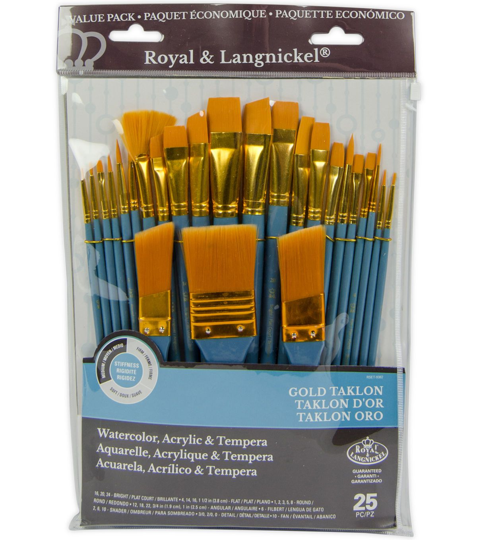 Royal Langnickel 25pc Variety Brush Set Gold Taklon Brush Set Gold