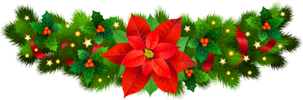 Christmas Decorative with Poinsettia PNG Clip Art Image