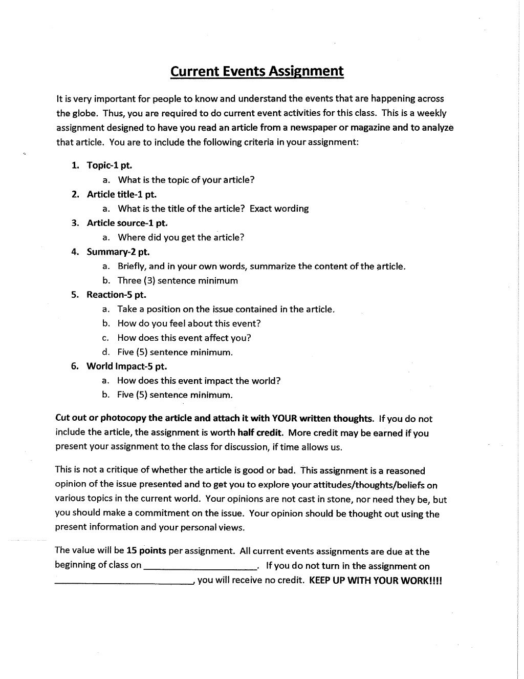 small resolution of Current Events Assignment Rubric   Current events worksheet