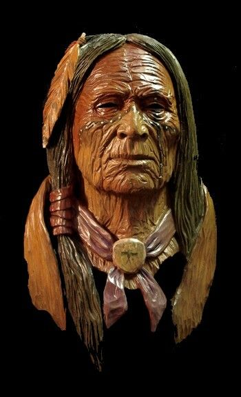 Redhawk carvings western cowboys native