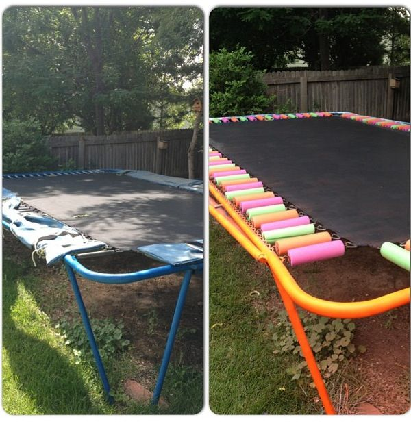 Trampoline Revamped Before And After Used Pool Noodles And Spray Paint Backyard Trampoline Best Trampoline Backyard