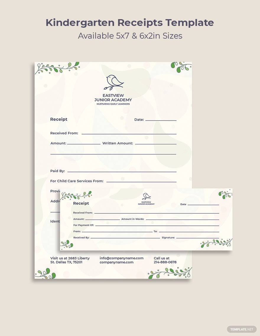 Kindergarten Receipts Template Free Pdf Word Psd Indesign Apple Pages Illustrator Publisher Receipt Template Templates Child Care Services