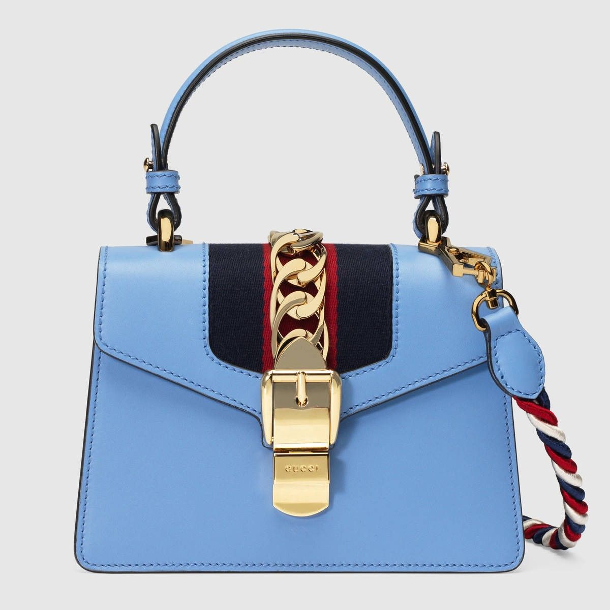 GUCCI Sylvie Leather Mini Bag - Light Blue Leather.  gucci  bags  shoulder  bags  hand bags  nylon  suede  lining   a3d20efa66be3