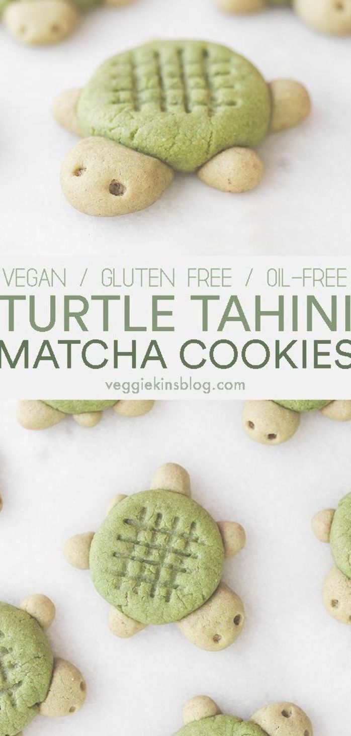 Healthy and cute matcha turtle tahini cookies. Vegan, dairy free, nut free, gluten free and refined