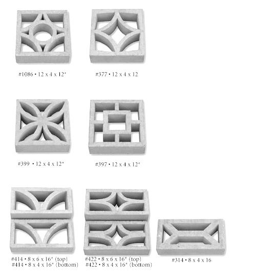 Mid Century Decorative Concrete Screen Block Arches Gạch Tường