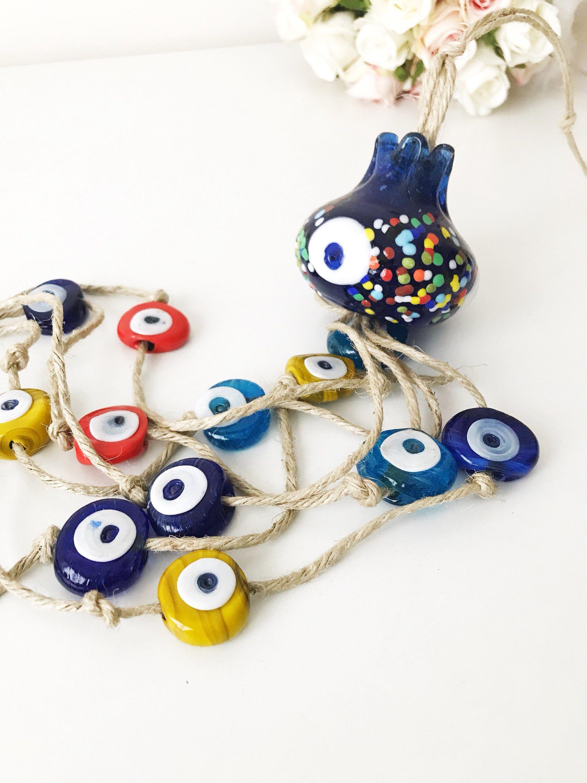 Evil eye wall hanging pomegranate wall art evil eye beads blue