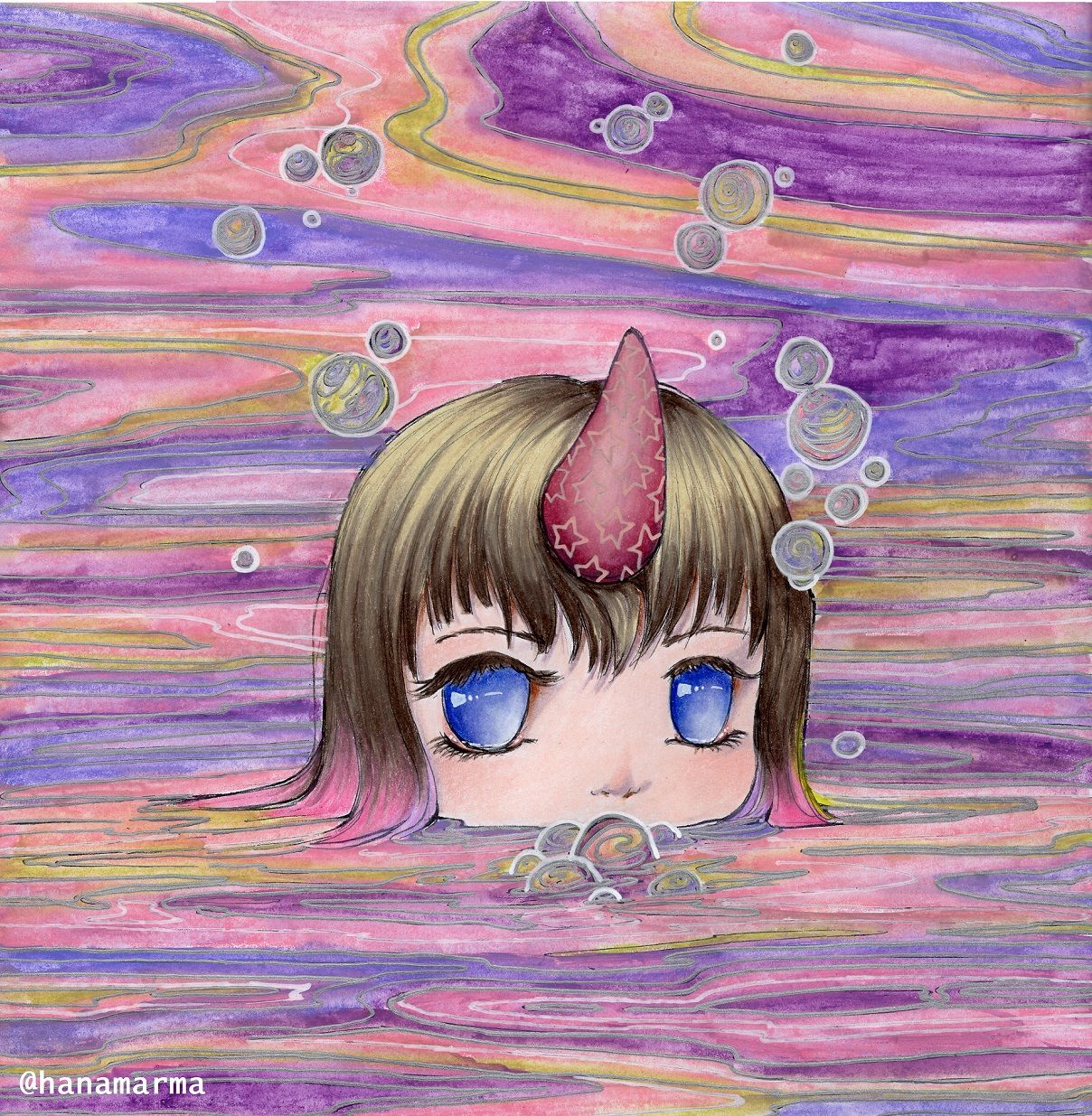 The Narwhal Girl From Pop Manga Coloring Book By Camilla D Errico Colored By Hanamarma Manga Coloring Book Mermaid Coloring Book Coloring Books