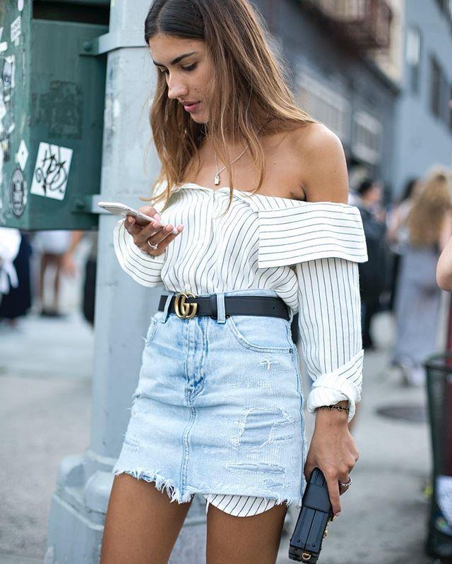 ss tibi off-the-shoulder striped shirt + denim skirt + black belt