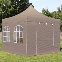 Photo of 3×3 m folding pavilion premium steel 32 mm, side panels with arched windows, taupe folding tent, folding tent
