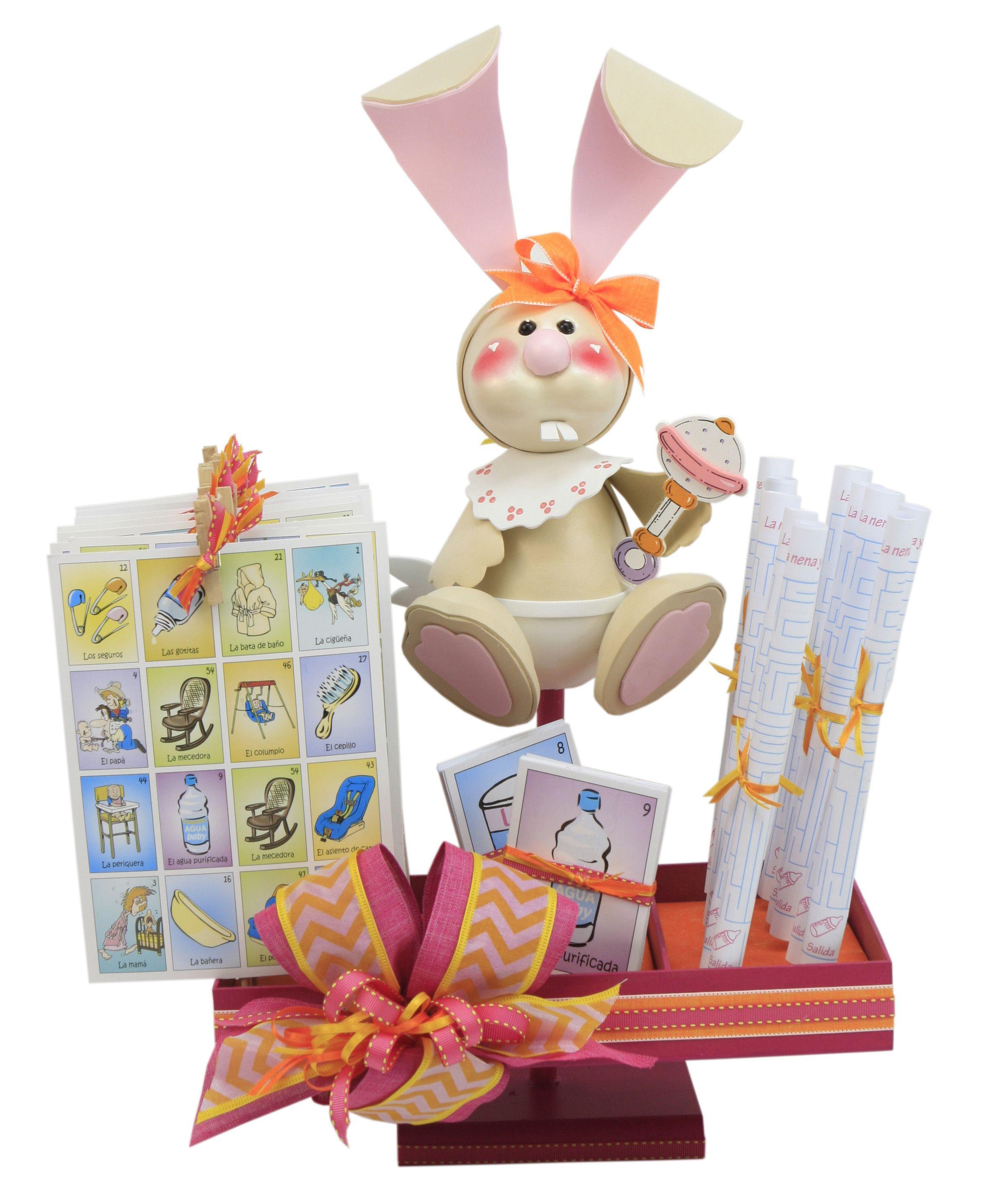 Juegos para Baby Shower Decoración rosa con conejito blanco