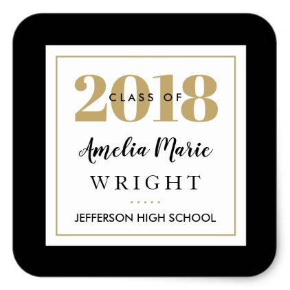 Classy black and gold personalized graduation square sticker classy black and gold personalized graduation square sticker elegant gifts gift ideas custom presents negle Images