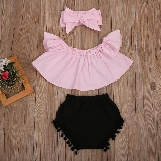 UK Kids Baby Girls Bow Tassel Tops Floral Pants Summer Clothes Outfits 3PCS Set